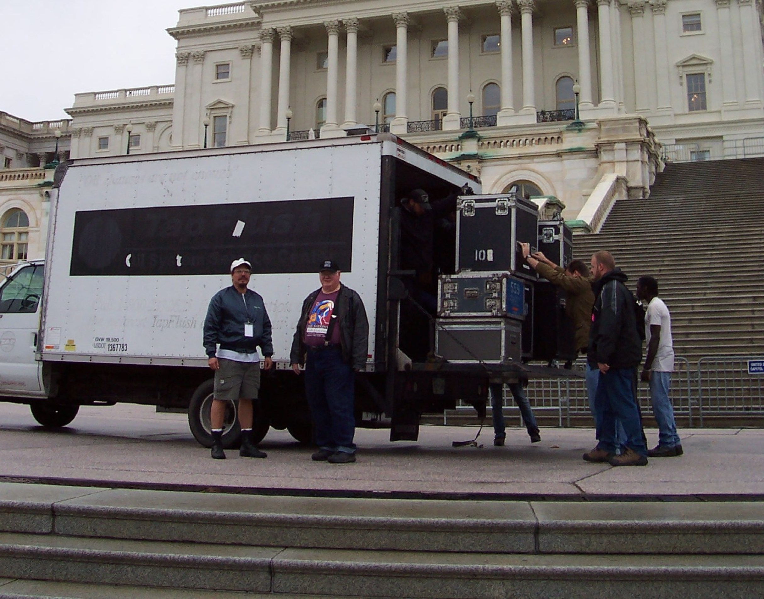 Tommy with truck and crew on the west Capitol steps, October 2005
